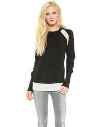 Black and White Crew-neck Sweater