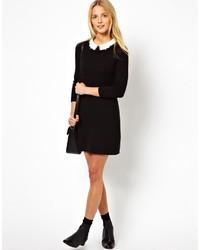 Black dress white collar asos uk