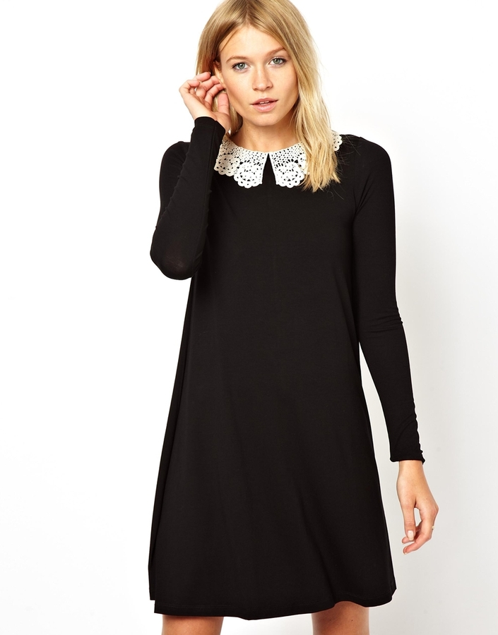 Asos Swing Dress With Crochet Collar And Long Sleeves Red 43