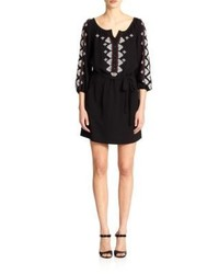 Black and White Embroidered Peasant Dress