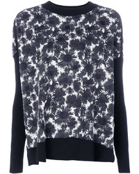Black and White Floral Crew-neck Sweater