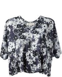 Black and White Floral Cropped Top