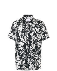 Black and White Floral Short Sleeve Shirt