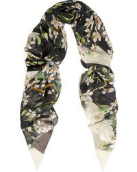Floral print silk chiffon scarf medium 175087