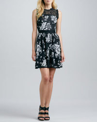 Black and White Floral Skater Dress