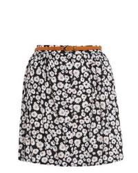 New Look Black Daisy Print Belted Skater Skirt