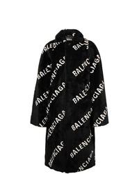 Balenciaga Oversized Logo Print Faux Fur Coat