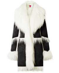 House of Fluff Faux Shearling Trimmed Velvet Coat
