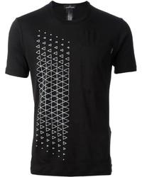 Black and White Geometric Crew-neck T-shirt