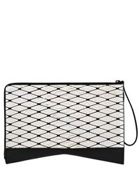 c65eb189eebda Women's Black and White Geometric Leather Clutch, Red Suede Pumps ...