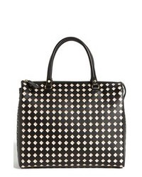 Black and White Geometric Leather Tote Bag