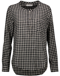 Black and White Gingham Long Sleeve Blouse