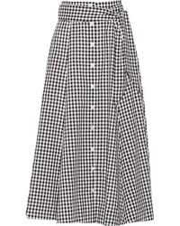 Black and White Gingham Midi Skirt