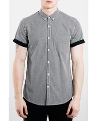 Black and White Gingham Short Sleeve Shirt