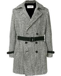 Saint Laurent Tailored Fitted Herringbone Coat