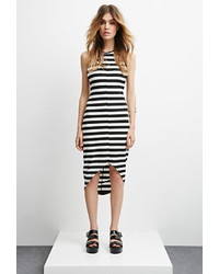 Black and White Horizontal Striped Bodycon Dress