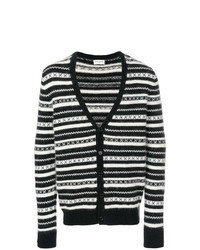 Black and White Horizontal Striped Cardigan