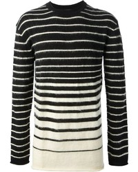 Black and White Horizontal Striped Crew-neck Sweater