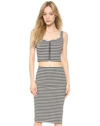 Black and White Horizontal Striped Cropped Top