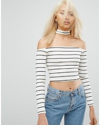 Arrive Bardot Stripe Crop Top With Collar