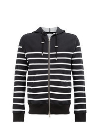 Black and White Horizontal Striped Hoodie