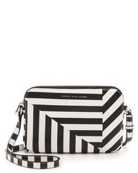 Black and White Horizontal Striped Leather Crossbody Bag