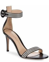 Black and White Horizontal Striped Leather Heeled Sandals