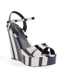Dolce & Gabbana Dolcegabbana Nautical Stripe Platform Wedge Sandal Size 6us 365eu White