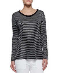 Long sleeve striped tee black medium 209189