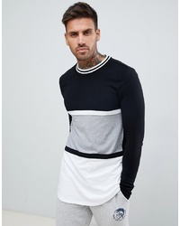 ASOS DESIGN Muscle Fit Longline Long Sleeve T Shirt With Curved Hem In Monochrome Colour Block