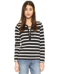 Scotch Sodamaison Scotch Sporty Long Sleeve Lace Up Tee