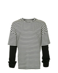 Juun.J Striped Contrast Sleeve T Shirt