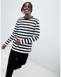 Diamond Supply Striped Long Sleeve T Shirt With Logo