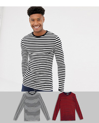 ASOS DESIGN T Sleeve T Shirt In Organic Cotton 2 Pack Blackwhite Navyred