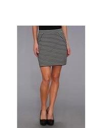 Black and White Horizontal Striped Mini Skirt