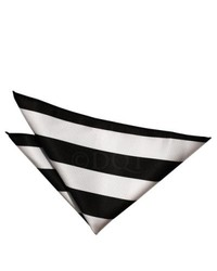 Black and White Horizontal Striped Pocket Square