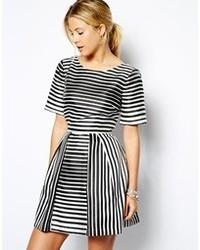 Collection structured skater dress in stripe medium 87767