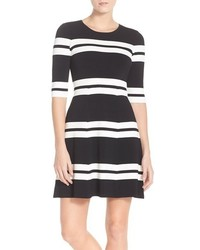Eliza J Stripe Sweater Fit Flare Dress