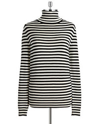 Black and White Horizontal Striped Turtleneck
