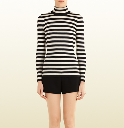 Gucci Striped Silk Cashmere Turtleneck Sweater | Where to buy ...