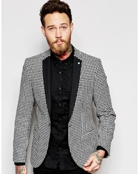 Noose monkey noose monkey houndstooth blazer with contrast lapel in super skinny fit medium 450285
