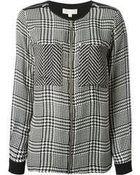 Michl michl kors sheer panel houndstooth blouse medium 103062