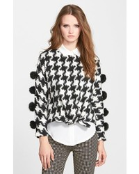 Cheer check houndstooth pullover with faux fur pompoms medium 225058