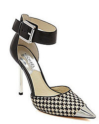 Black and White Houndstooth Leather Pumps