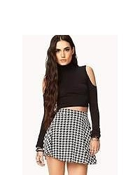Black and White Houndstooth Skater Skirt