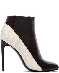 Black and White Leather Ankle Boots