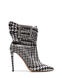 Alexandre Vauthier Black And White Yasmin 100 Houndstooth Print Embellished Ankle Boots
