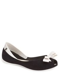Black and White Leather Ballerina Shoes