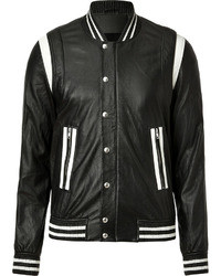 Black and White Leather Bomber Jacket