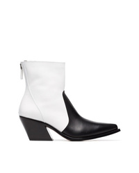 Givenchy Black And White Zip Fastening 60 Leather Cowboy Boots